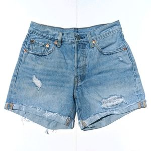 Levi's 501 High Waisted Button Fly Jean Shorts 24